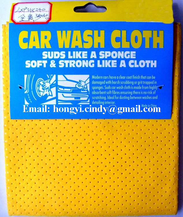 Lint free water abosrbent nonwoven PU coated chamois car wash cloth for car window