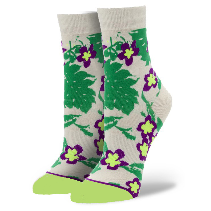 Bulk Wholesale Custom Design Floral Jacquard Combed Cotton Woman Sock
