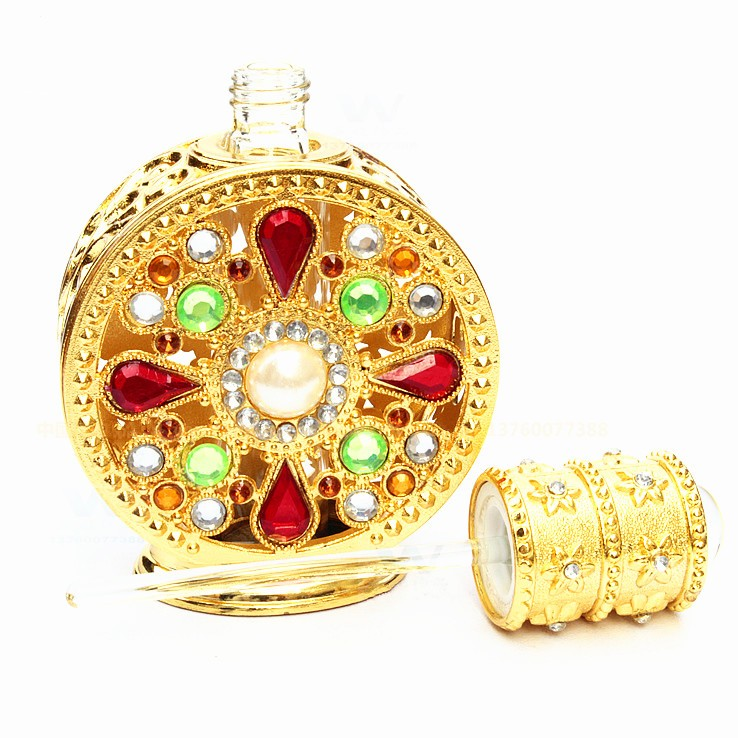 12ml Arabic Style Metal Crystal Perfume Oil Bottle With Glass Stick