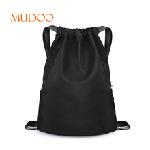 BLACK FASHION WOMEN SPORTS LARGE FODABLE NYLON DRAWSTRING WATER PROOF BACKPACK
