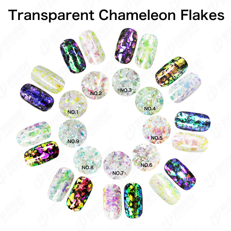 Sheenbow transparent irregualr chameleon flakes,transparent flakes for nail
