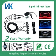 WEIKEN high quality super bright led 9w rock lights 6 pods under car decorative accessories
