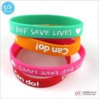 Custom embossed printed logo rubber silicone wristbands for bracelet