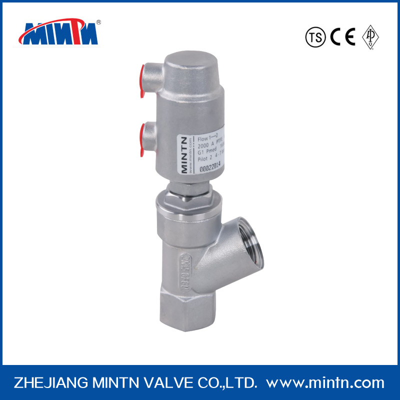 high quality factory price small size spring return pneumatic angle seat valve