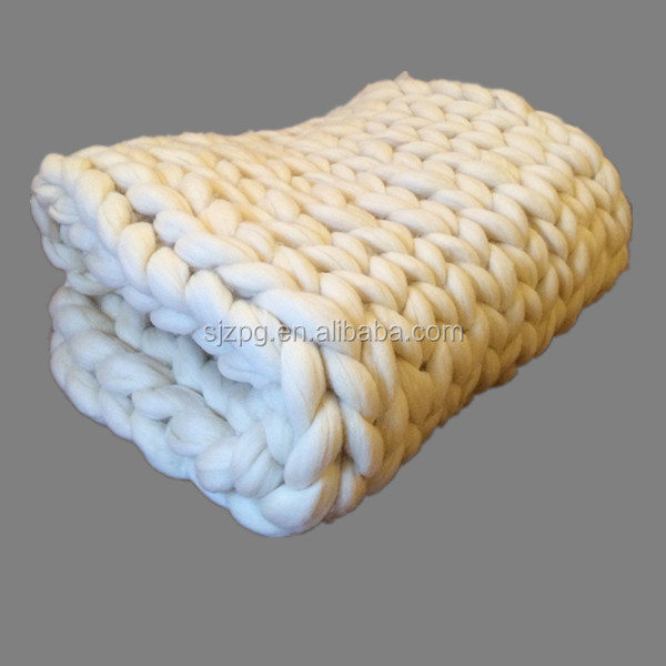 Thick Merino wool Hand knitted Chunky Throw Blanket
