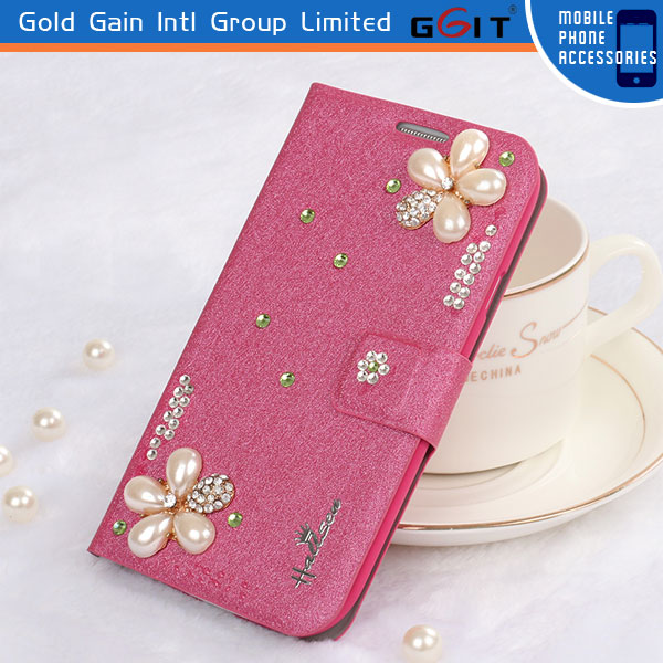 Handmade Silk Pattern Case Cover For Huawei G610 Diamond Protective Flip Cover Case