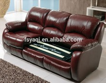 Salon cinema home used leisure furniture leather 3 seater recliner sofa