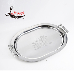 Oval stainless steel food serving tray BBQ tray buffet tray with handle