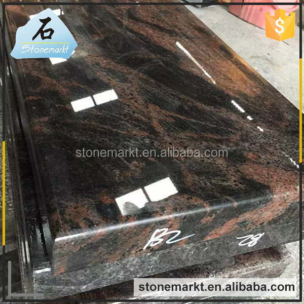 China custom modern designs natural stone polished granite aurora tombstone
