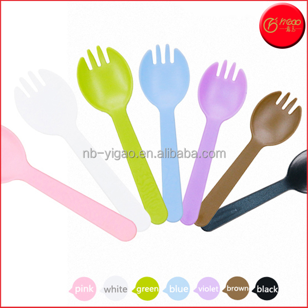 Portable Spork Outdoor Healthy Cake Fork Spoon Disposable Plastic Spork