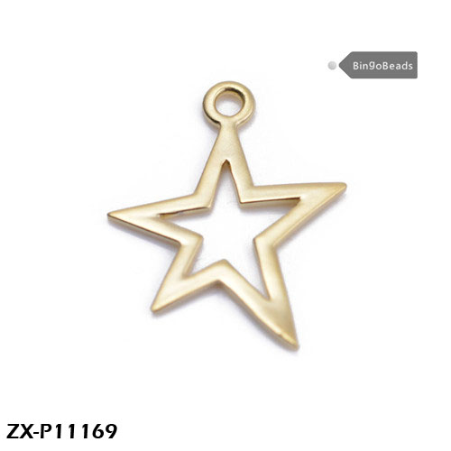 Tiny Bronze Star Pendant, Open Antique Brass Star Charm, Star with Hole in Center. jewelry making ZX-P11169