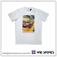 Promotional customized OEM Mens 100% cotton offset print short sleeve event Tee