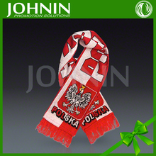 2018 world cup custom 100%acrylic soccer fan neck Jacquard poland soccer scarf
