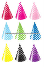 Green Pink Red Blue Yellow BLACK & WHITE POLKA DOTS ~Polka Dot Paper Party Cone Hats Caps for Birthday Party Shower Supplies