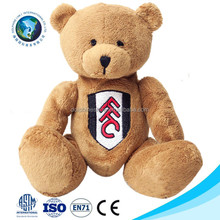 OEM design Soccer club custom embroidery LOGO cartoon stuffed soft toy plush brown teddy bear with movable arms and legs