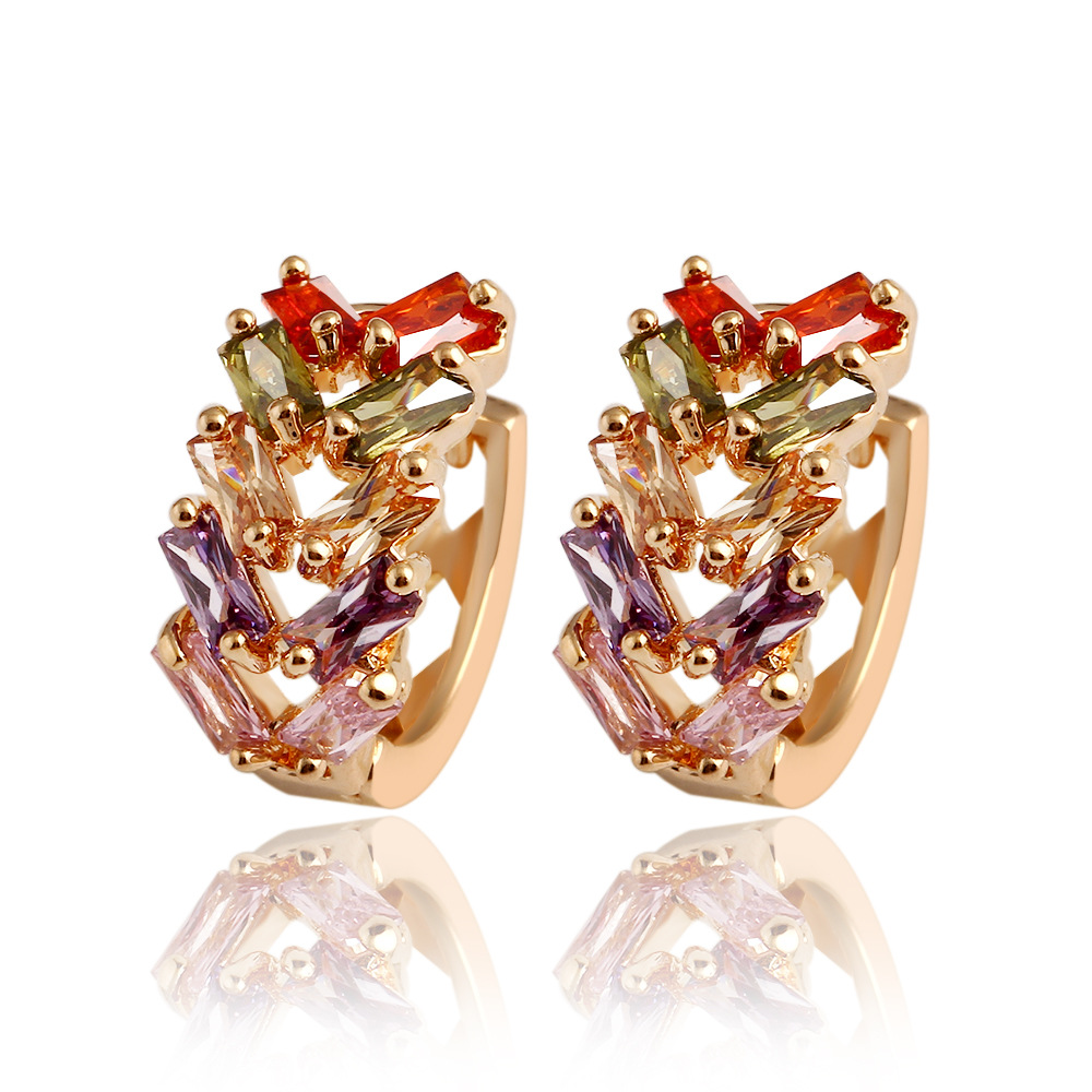 New Flower Earrings 18K Rose <strong>Gold</strong> Plated Multicolor Cubic Zircon Stud Earrings for Women