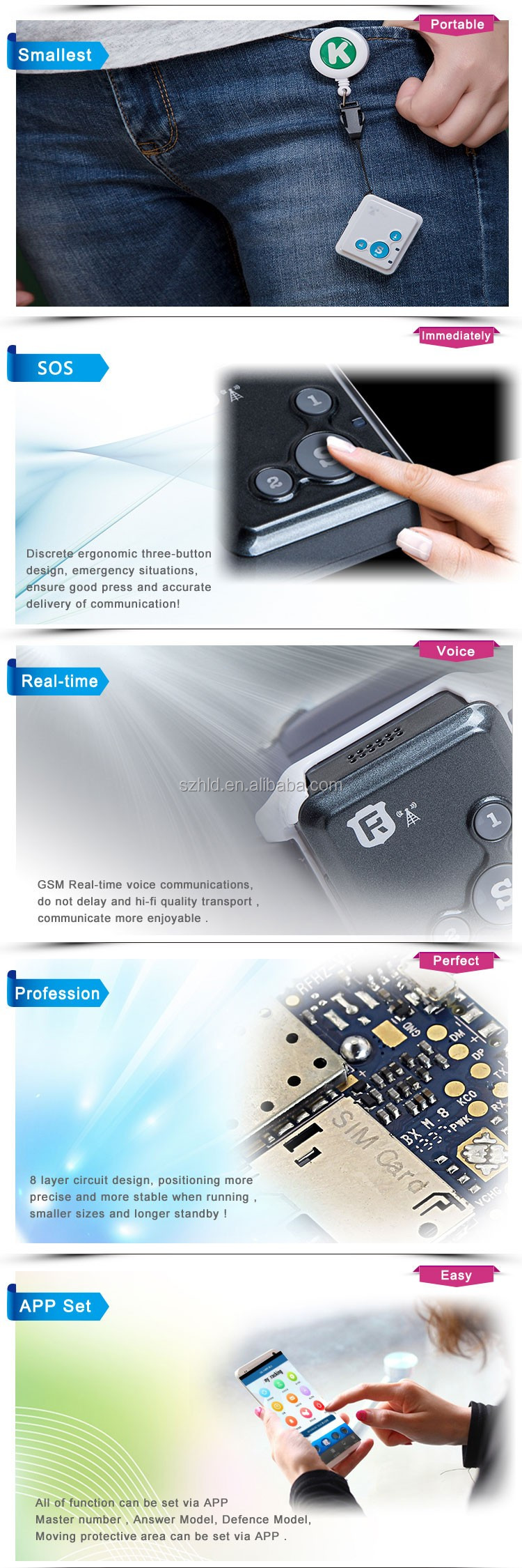 dustproof and waterproof mini GPS Tracker System SOS
