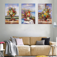 Wall pictures for fabric oil painting simple flower glass painting designs