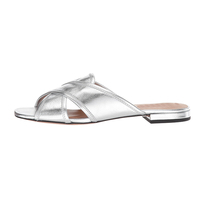 Genuine leather silver women flats sandals comfortable china rubber slipper