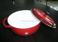 Cast Iron Sauce Pan with Red Enamelware