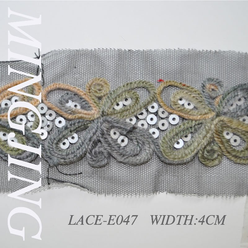 LACE-E047 Special Embroidered lace/Wire bead piece of lace