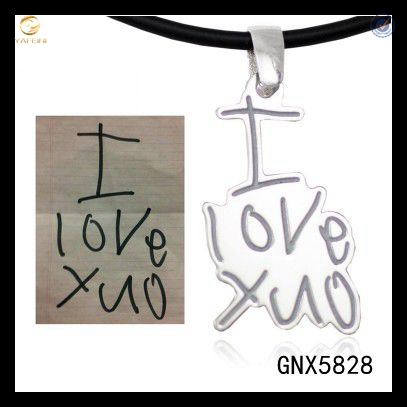 Childrens Kids Handwriting Artwork jewelry, handwritten I LOVE YOU pendant , Mothers Day Gift for mom