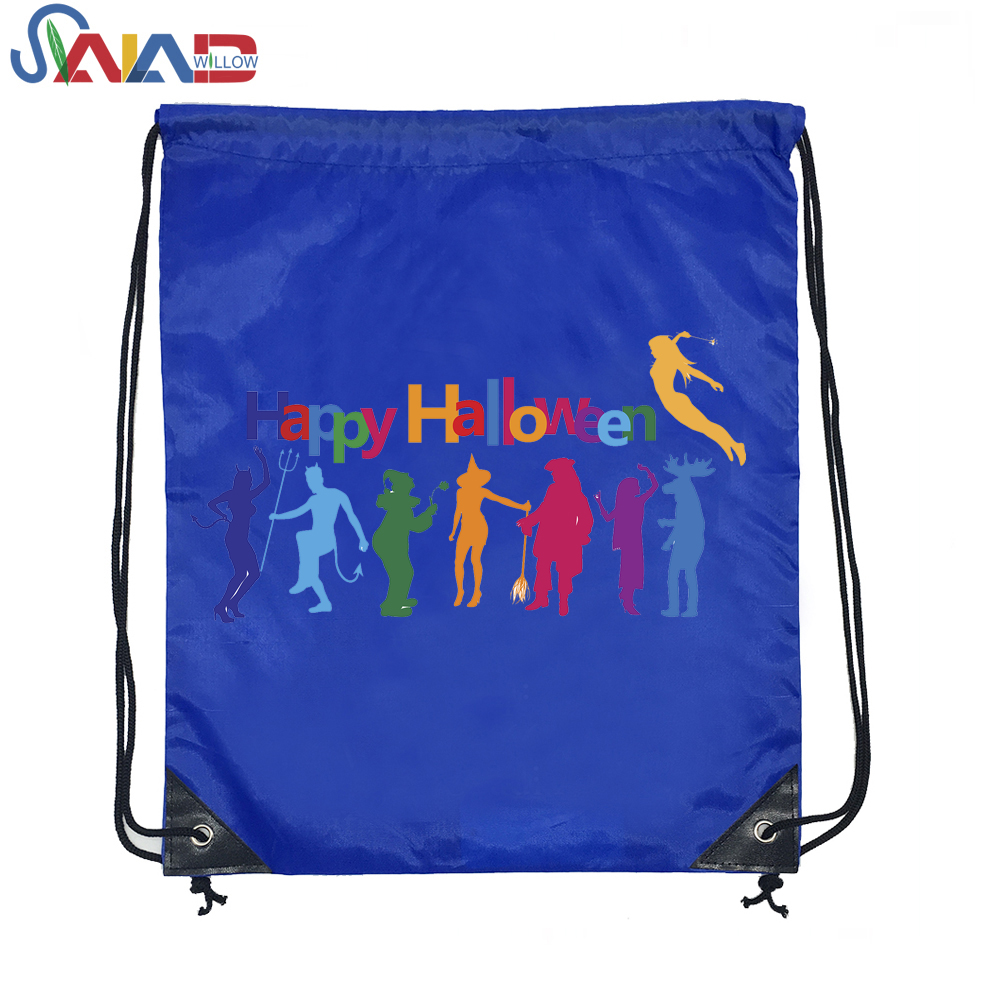Halloween Eco Backpack Waterproof Mini 210D Polyester Drawstring Bag
