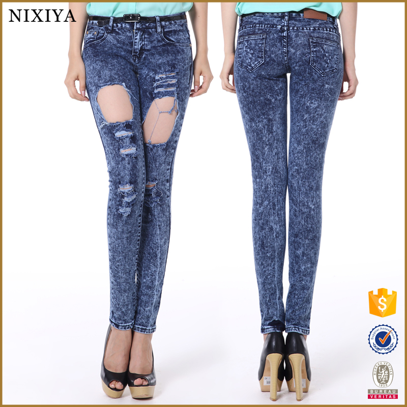 2015 Skinny Fashional Cute Design Color Fade Proof Plus Size Women Ripped Jeans