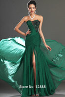 Mermaid Style Green Chiffon Evening Gown Formal Evening Dress