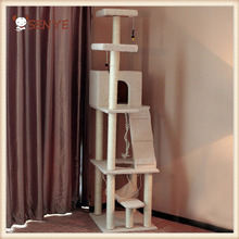 Manufacturers supply pet cat plush fabric with high quality sisal wood cat climbing tree