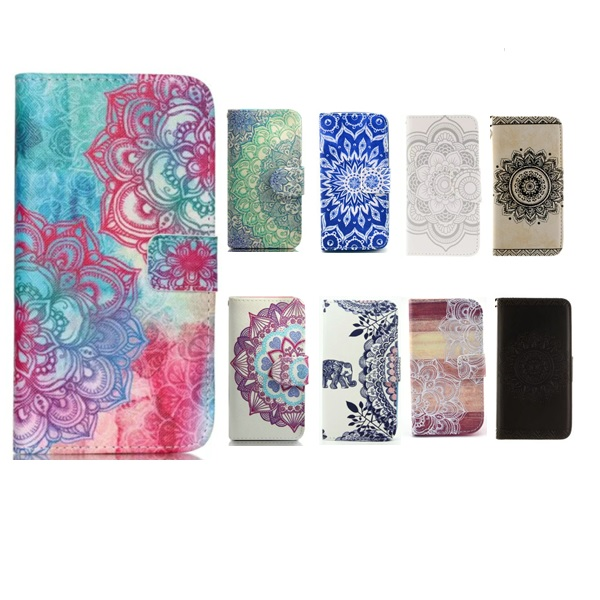 For iPhone SE 6s 6 Plus Case Mandala Pattern case Print Wallet flip Leather Cover 5s For <strong>Apple</strong>
