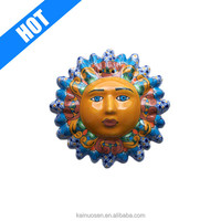 Custom multicolor small talavera ceramic sun face