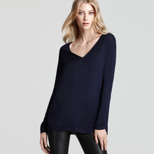 auttom new navy loose t shirt women long sleeve home wear blank tshirts for printing