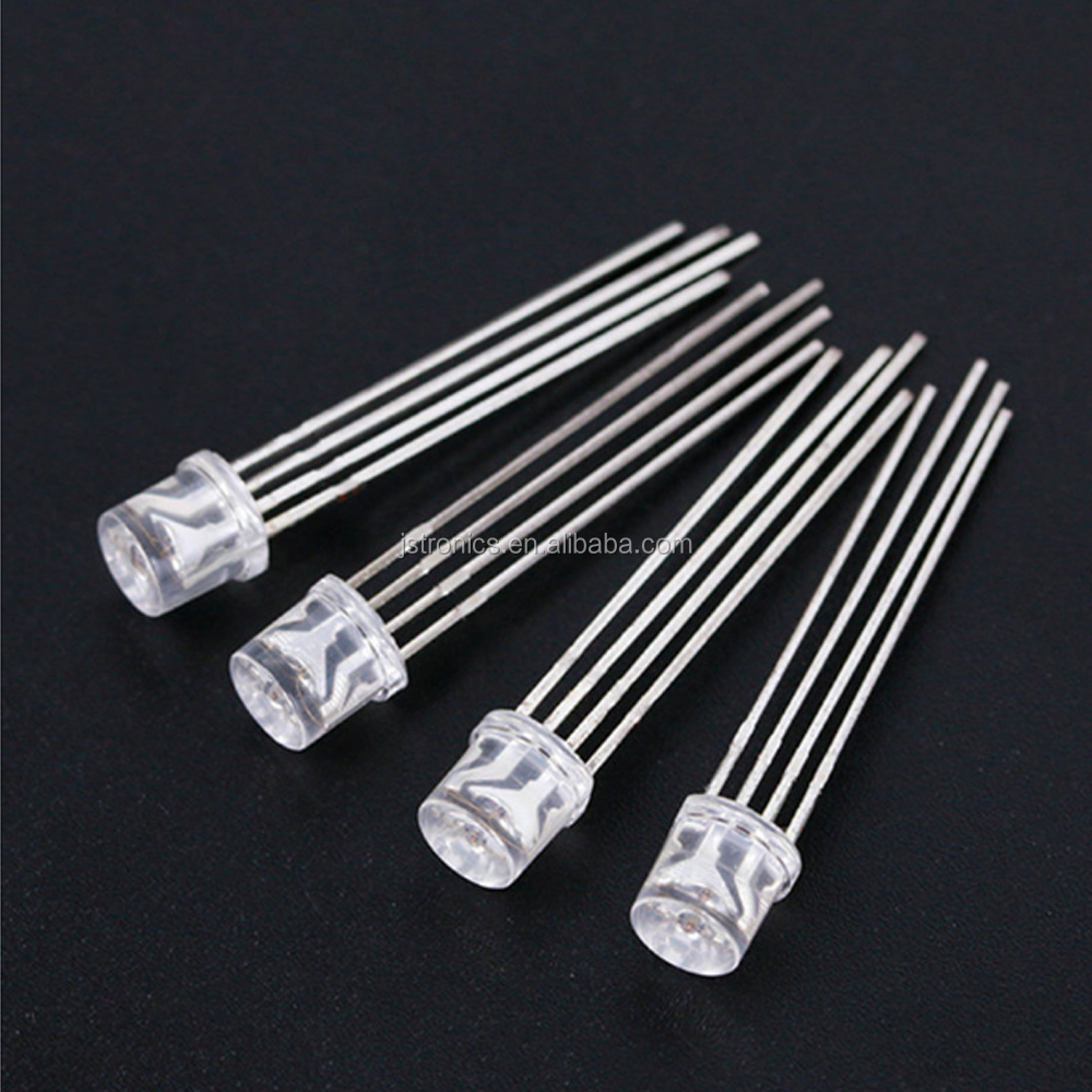 Water clear addressable 4 pins dip 5mm flat top rgb led