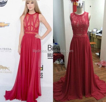 Real Pictures Chiffon Pleated Designer Floor Length Custom Make Long Celebrity Party Dress RD032 2015 sexy side slit prom dress