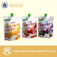 Resealable beverage juice doypack spout pouch/ stand up juice drink plastic bag with suction nozzle