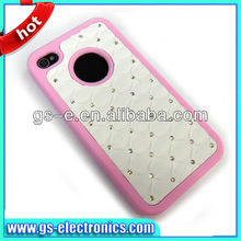 High quality for iphone4 starry case with diamond PC+silicon back cover case for iphone 4