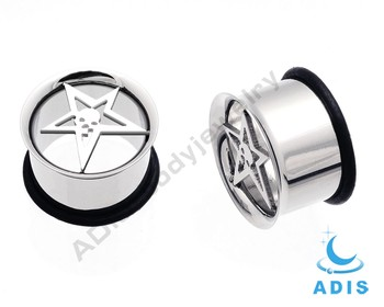 Stainless Steel Star Laser Gauges Flare Ear Tunnel Display