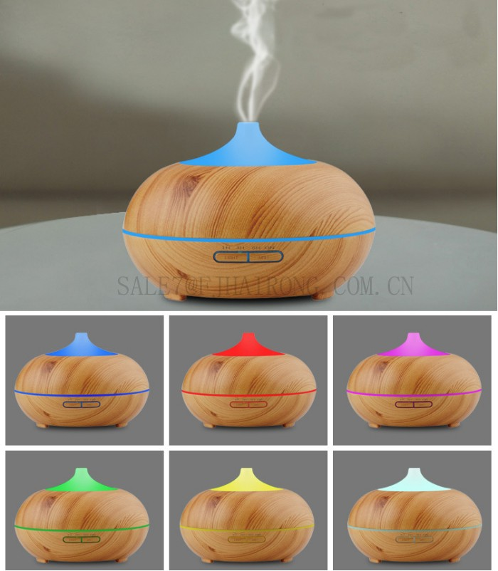 2017 Factory Produce Wooden Warm Mist Humidifier 300ML Aroma Diffuser With 7 colours Led Light
