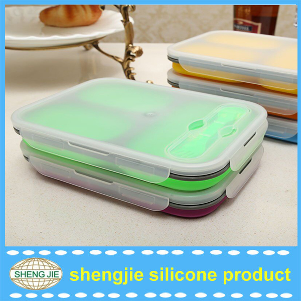 collapsible silicone lunch box/microwave food container