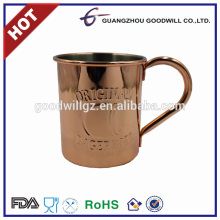 2017 Hot sale wholesale 16oz solid copper plated mug stainless steel cup