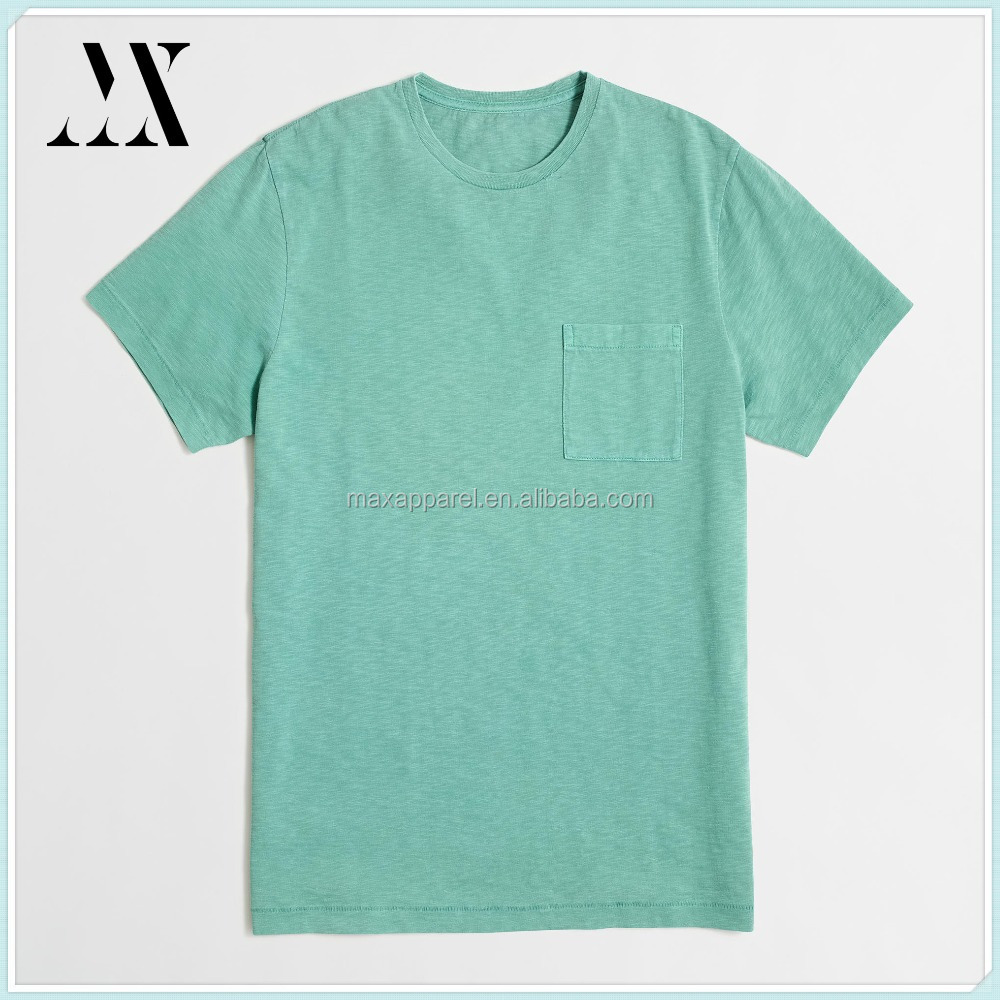 Wholesale Factory Price Sunwashed Garment Dyed Chest Pocket T-shirt