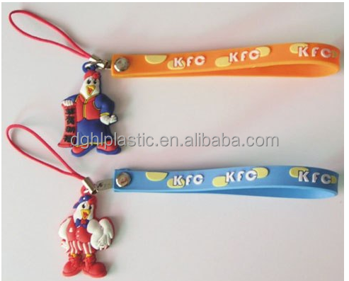 soft pvc rubber cell phone charm strap with button cheap price