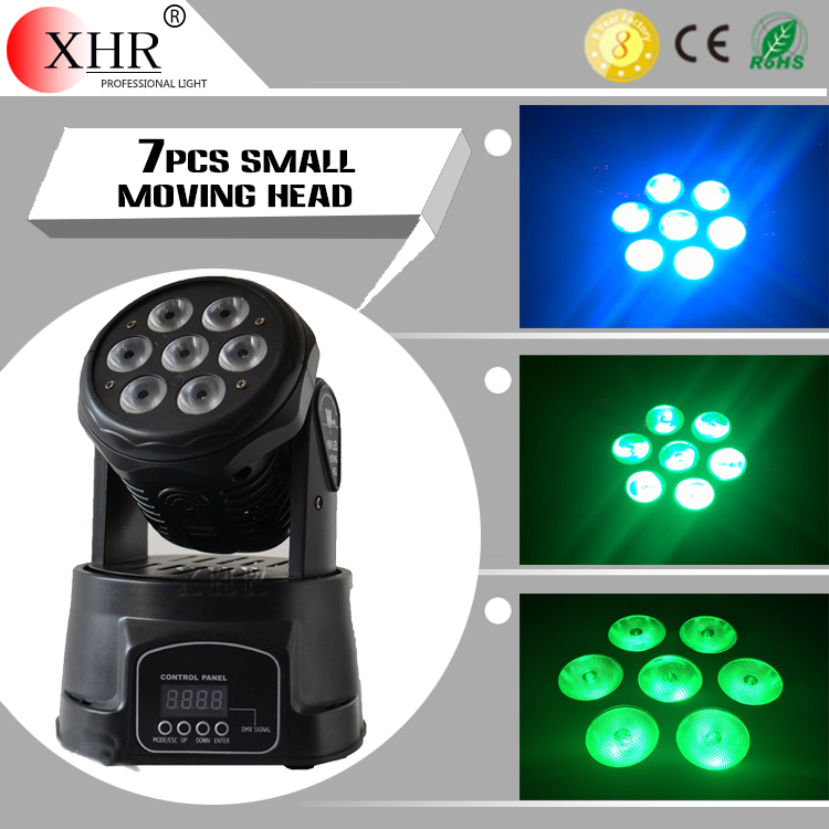 10W*7pcs RGBW 4 in 1, MIni LED Moving Head Light LED Washing Show Light Stage Lighting