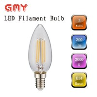 Fully glass shell 2W B35 led chandelier bulb