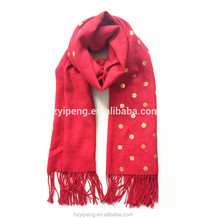2017 Spring autumn fashion round dot finished tassel scarf pashmina with golden foil