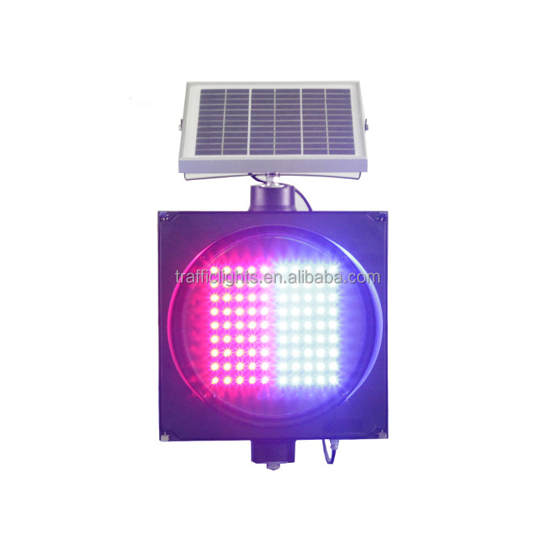 China supplier red blue two colors solar led aluminum signal light/traffic baton light