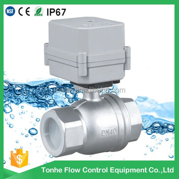 "1.5"" inch Direct ball valve AC/DC9~35V Normal closed/open DN40 motorized stainless steel ball valve For Drinking Water"