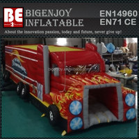 amusement park equipment fire truck inflatable obstacle course for kids for sale