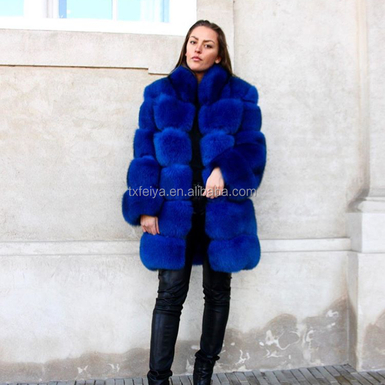 Women wearing fashion high quality OEM color italian fox fur coat garment